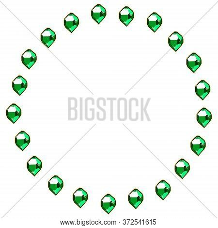 Green Emerald Gems Circle Frame Isolated On White Background. Vector Jewels Or Precious Diamonds Gem