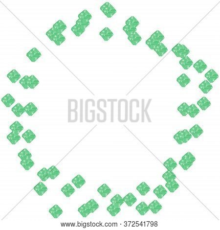 Green Emerald Diamond Jewels In Pentagon Geometrical Shape Frame Isolated On White Background. Vecto