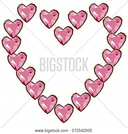 Pink Heart Diamond Gems Heart Frame Isolated On White Background. Vector Jewels Or Precious Diamonds