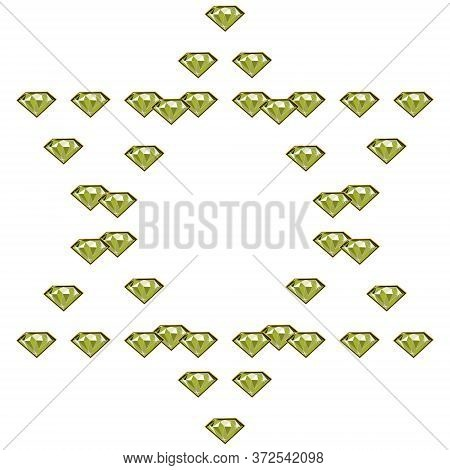 Fancy Light Green Diamond Jewels In Circle Shape Frame Isolated On White Background. Vector Illustra