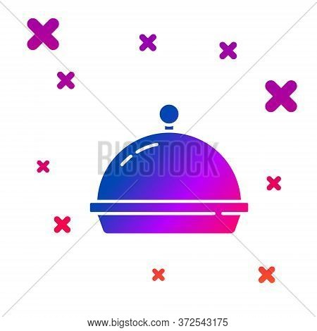Color Covered With A Tray Of Food Icon Isolated On White Background. Tray And Lid. Restaurant Cloche