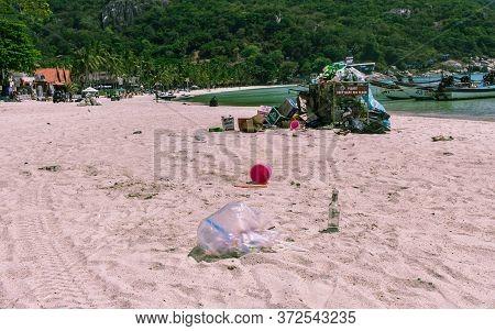 Koh Phangan, Thailand- April 20 2019: Haad Rin Dirty Beach After Full Moon Party