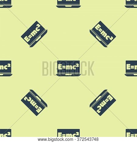 Blue Math System Of Equation Solution On Laptop Icon Isolated Seamless Pattern On Yellow Background.