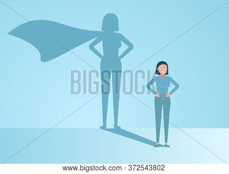 Businesswoman Dreams Of Becoming A Superhero. Confident Handsome Young Businessman Standing Superher