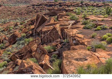 Early Summer In Arizona: Red Rock Outcropping In Wupatki National Monument