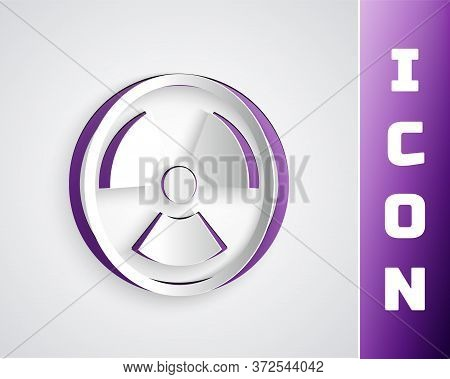 Paper Cut Radioactive Icon Isolated On Grey Background. Radioactive Toxic Symbol. Radiation Hazard S