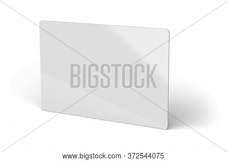 White Plastic Id Card With Rounded Corners Template Mockup Isolated On White Background. Ticket, Dis