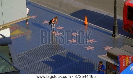 The Stars On The Walk Of Fame - View From Hollywood And Highland Center - Los Angeles, Usa - April 2