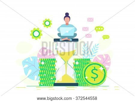 A businesswoman sits on an hourglass and earns money. Business concept. Business people. Business background. Infographic business arrow shape template design. Business background, business concept. business banner. Building to success concept vector illu