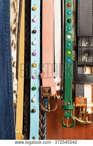Women's Different Forms, Designs And Sizes Of Belts With Buckles