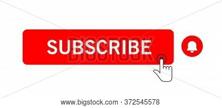 Subscribe Icon Shape Sign. Red Button Subscribe To Channel, Blog. Social Media Logo Symbol. Vector I