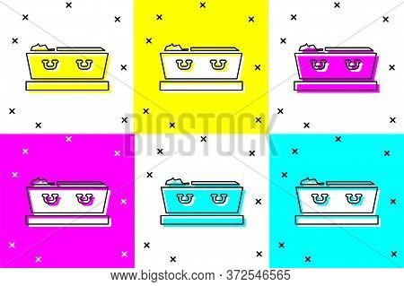 Set Open Coffin With Dead Deceased Body Icon Isolated On Color Background. Funeral After Death. Corp