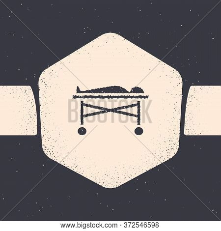 Grunge Dead Body In The Morgue Icon Isolated On Grey Background. Monochrome Vintage Drawing. Vector