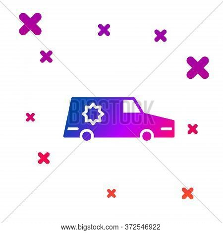 Color Hearse Car Icon Isolated On White Background. Gradient Random Dynamic Shapes. Vector
