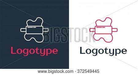 Logotype Line Rolling Pin On Dough Icon Isolated On White Background. Logo Design Template Element.