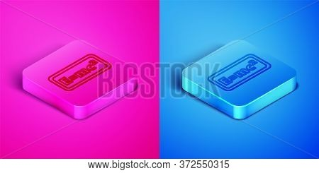 Isometric Line Math System Of Equation Solution Icon Isolated On Pink And Blue Background. E Equals