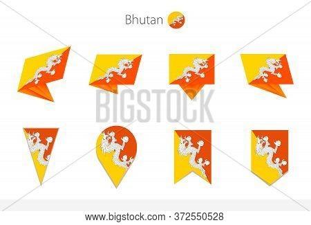 Bhutan National Flag Collection, Eight Versions Of Bhutan Vector Flags. Vector Illustration.
