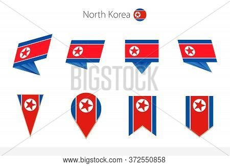 North Korea National Flag Collection, Eight Versions Of North Korea Vector Flags. Vector Illustratio