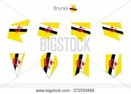 Brunei National Flag Collection, Eight Versions Of Brunei Vector Flags. Vector Illustration.