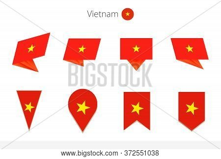 Vietnam National Flag Collection, Eight Versions Of Vietnam Vector Flags. Vector Illustration.