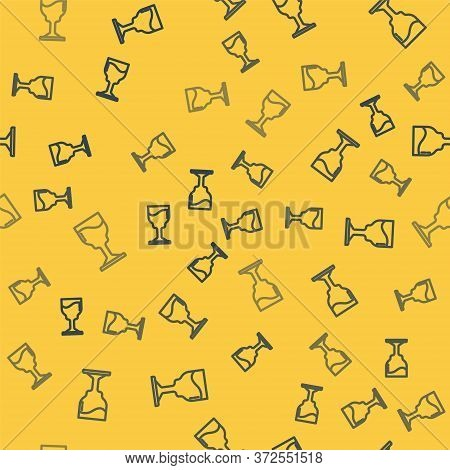 Blue Line Wine Glass Icon Isolated Seamless Pattern On Yellow Background. Wineglass Icon. Goblet Sym