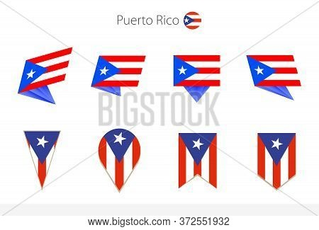 Puerto Rico National Flag Collection, Eight Versions Of Puerto Rico Vector Flags. Vector Illustratio
