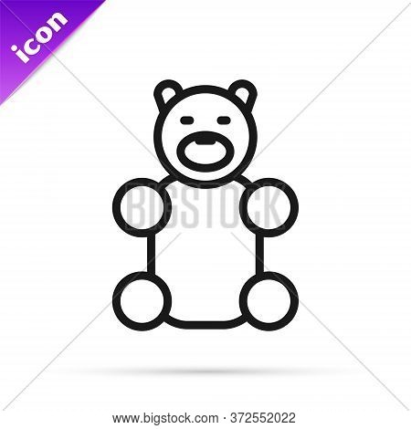 Black Line Jelly Bear Candy Icon Isolated On White Background. Vector