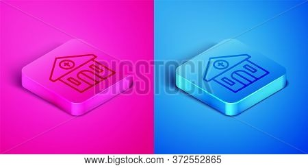 Isometric Line Church Building Icon Isolated On Pink And Blue Background. Christian Church. Religion