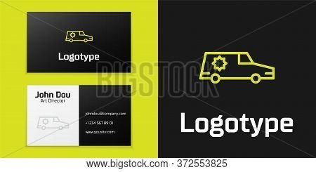 Logotype Line Hearse Car Icon Isolated On Black Background. Logo Design Template Element. Vector