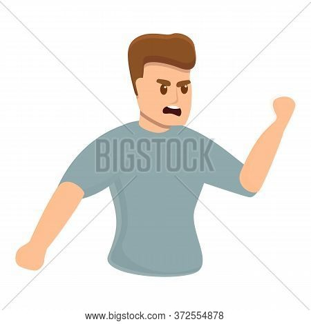 Rage Boy Icon. Cartoon Of Rage Boy Vector Icon For Web Design Isolated On White Background