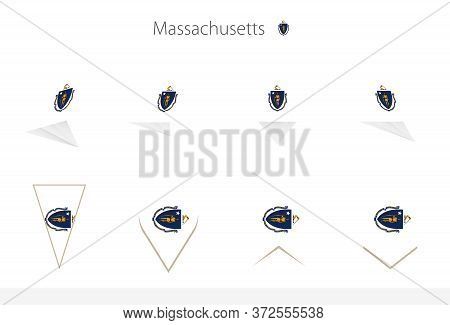 Massachusetts Us State Flag Collection, Eight Versions Of Massachusetts Vector Flags. Vector Illustr
