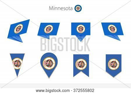 Minnesota Us State Flag Collection, Eight Versions Of Minnesota Vector Flags. Vector Illustration.