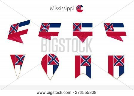 Mississippi Us State Flag Collection, Eight Versions Of Mississippi Vector Flags. Vector Illustratio