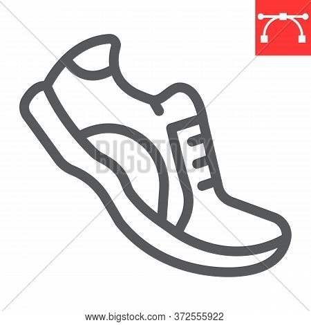 Running Shoes Line Icon, Fitness And Run, Sport Shoe Sign Vector Graphics, Editable Stroke Linear Ic