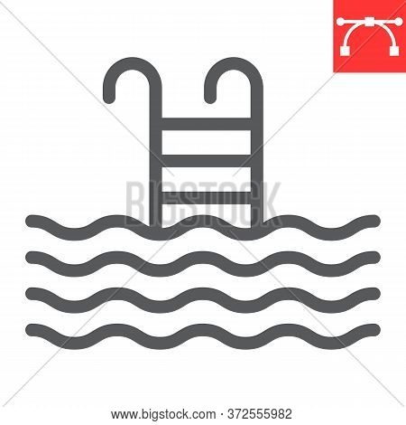 Swimming Pool Line Icon, Fitness And Swim, Pool Sign Vector Graphics, Editable Stroke Linear Icon, E