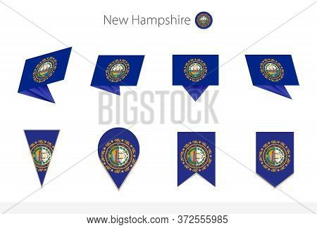 New Hampshire Us State Flag Collection, Eight Versions Of New Hampshire Vector Flags. Vector Illustr