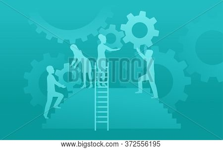 Successful Business Strategy - People Cartoon Silhouettes, Stairs And Gears - Business Management An