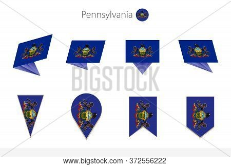 Pennsylvania Us State Flag Collection, Eight Versions Of Pennsylvania Vector Flags. Vector Illustrat