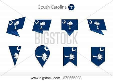 South Carolina Us State Flag Collection, Eight Versions Of South Carolina Vector Flags. Vector Illus