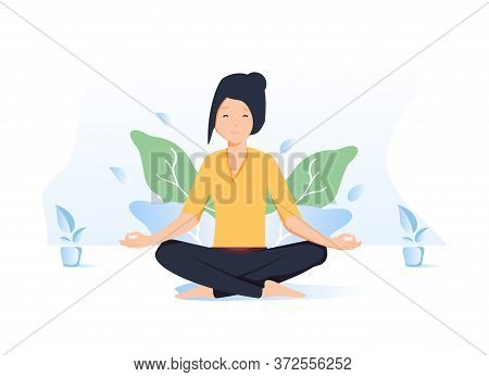 Woman Meditating In Nature And Leaves. Concept Illustration For Yoga, Meditation, Relax, Recreation,