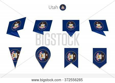 Utah Us State Flag Collection, Eight Versions Of Utah Vector Flags. Vector Illustration.