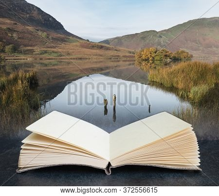 Digital Composite Concept Image Of Open Book Wth Stunning Autumn Fall Landscape Image Of Crummock Wa