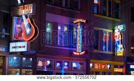 Colorful Nashville By Night - Nashville, Usa - June 17, 2019