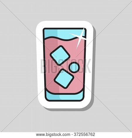 Glass Of Water With Ice Vector Icon. Graph Symbol For Cooking Web Site And Apps Design, Logo, App, U