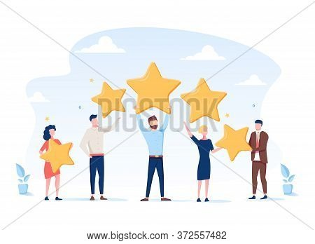 Vector Illustration, Customer Reviews Rating, Different People Give A Review Rating And Feedback, Su