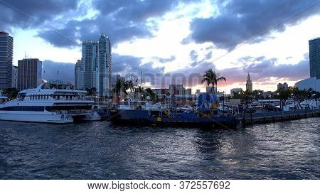 Luxury Yacht At Miami Bayside - Port Miami - Miami, Florida April 10, 2016