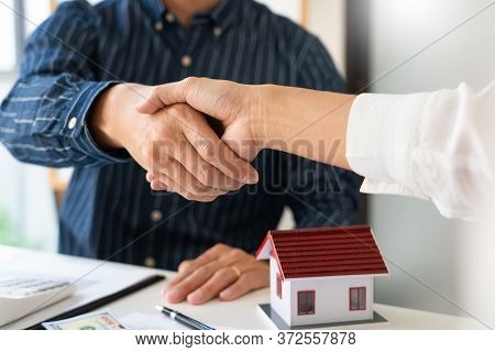 House Developers And Customer Shaking Hand After Accept Agreement Finish Buying Or Rental Real Estat