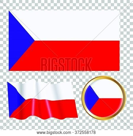 Vector Illustration Of The Flag Of Czech Republic. Isolated Image Of The Czech Republic Flag Options