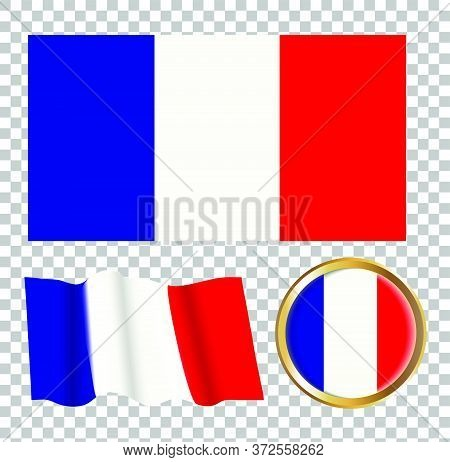 Vector Illustration Of The Flag Of France. Isolated Image Of The Options Of The Flag Of France . Ele