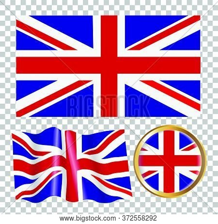 Vector Illustration Of The Flag Of Great Britain. Isolated Image Of The Options Of The Flag Of Great